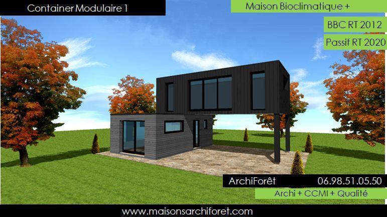 Maison container modulaire ossature bois d architecte constructeur plan et construction for Maison modulaire bois prix