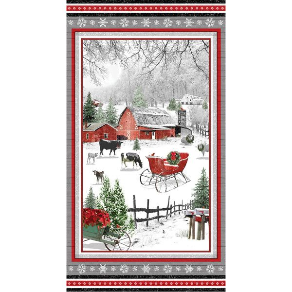 Holiday Homestead Red Pickup Truck Scenes Christmas Fabric Henry Glass YARD