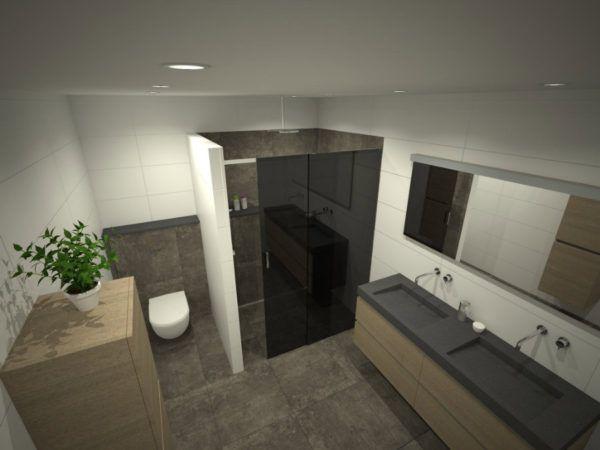 Badkamer met hout regendouche glazen wand badkamermeubel