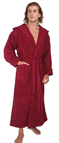 arus menu0027s hoodu0027n full ankle length hooded turkish cotton bathrobe m burgundy arus http - Mens Bathrobes