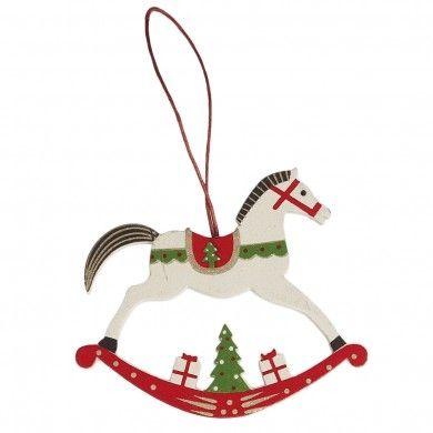 ornament white rocking horse christmas - Horse Christmas Ornaments