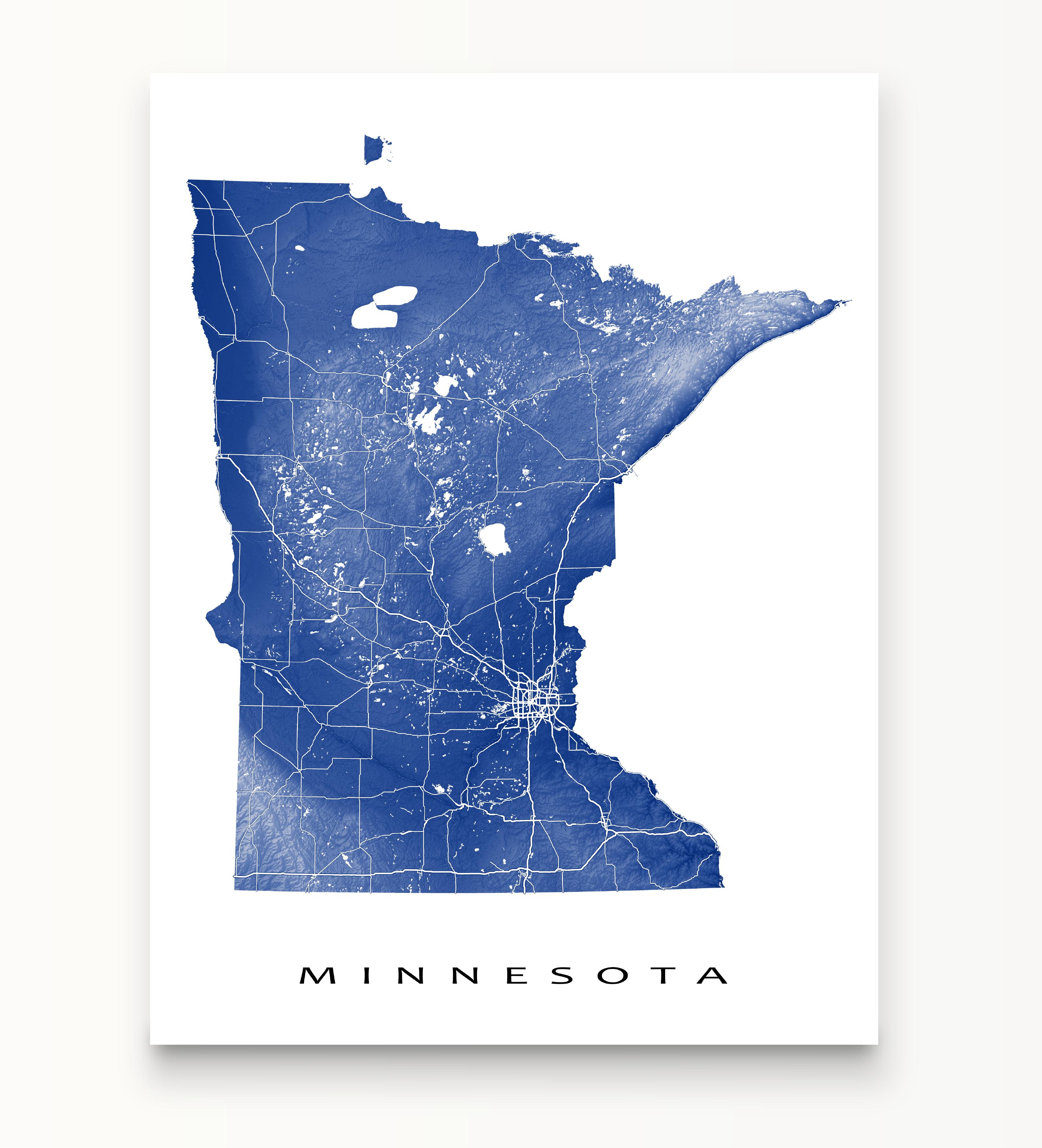 Minnesota Map Print Usa State Mn