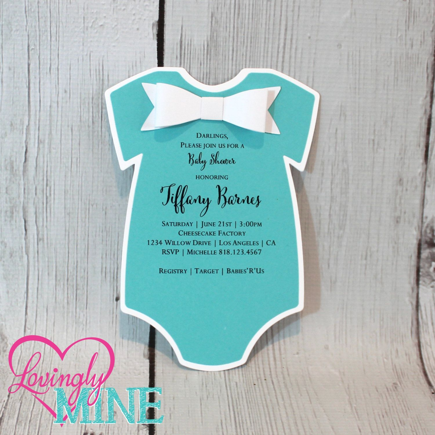Baby Shower Invitations - Set of 10 - One Piece Body Suit with 3D ...