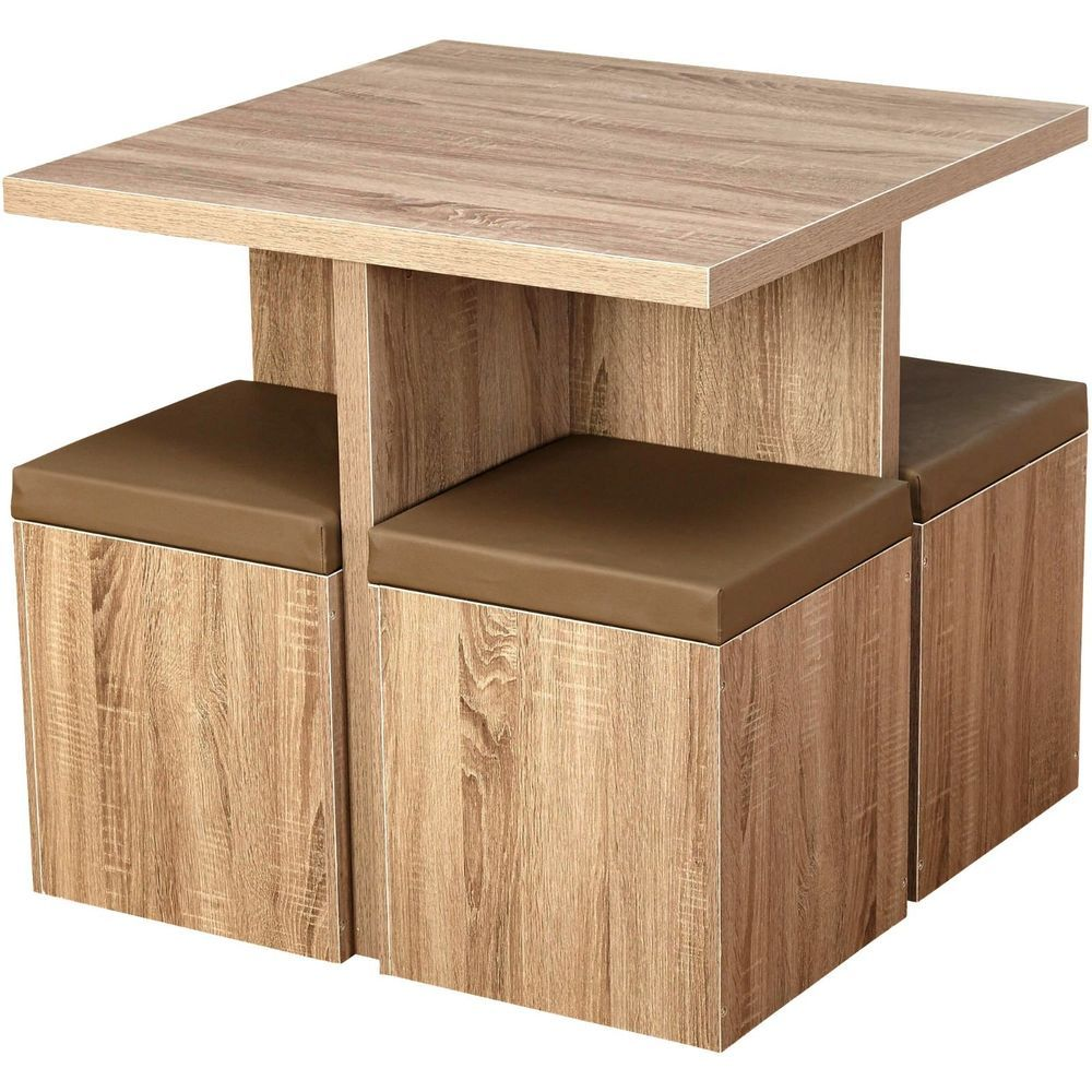 Cheap Kitchen Furniture For Small Kitchen: 5 Piece Kitchen Dining Set Wood Table And Storage Stool