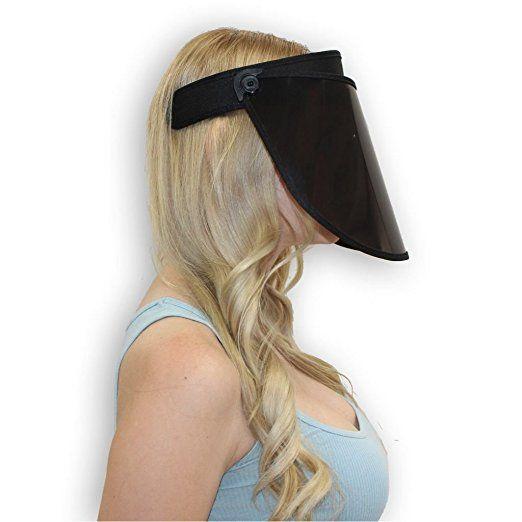 Solar Face Shield 7 In Black Full Face Sun Protection Upf 50 Post Peel Face Protector Sun Shield Face Sun Protection Sun Visor Hat Face Shield