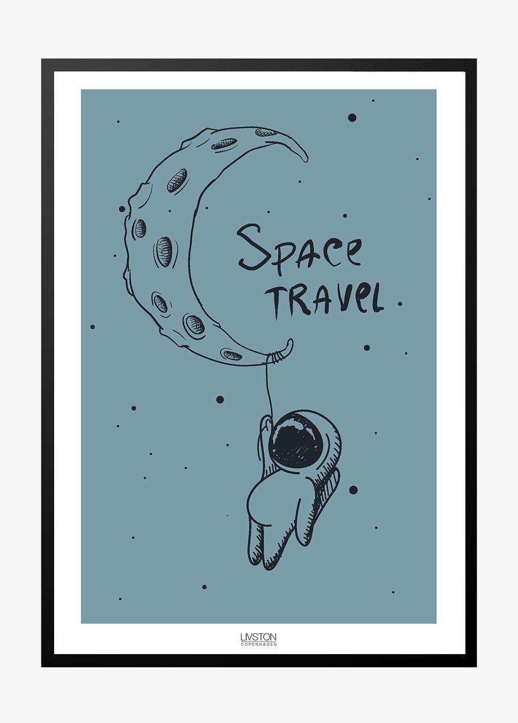 Space Travel Blue Ba Rneplakat Illustration Plakater Farver