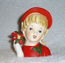 Vintage Christmas Girl Headvases from the 1950s  | Vintage Christmas 1950s Headvase Inarco Planter Head Vase Girl Lady H ...