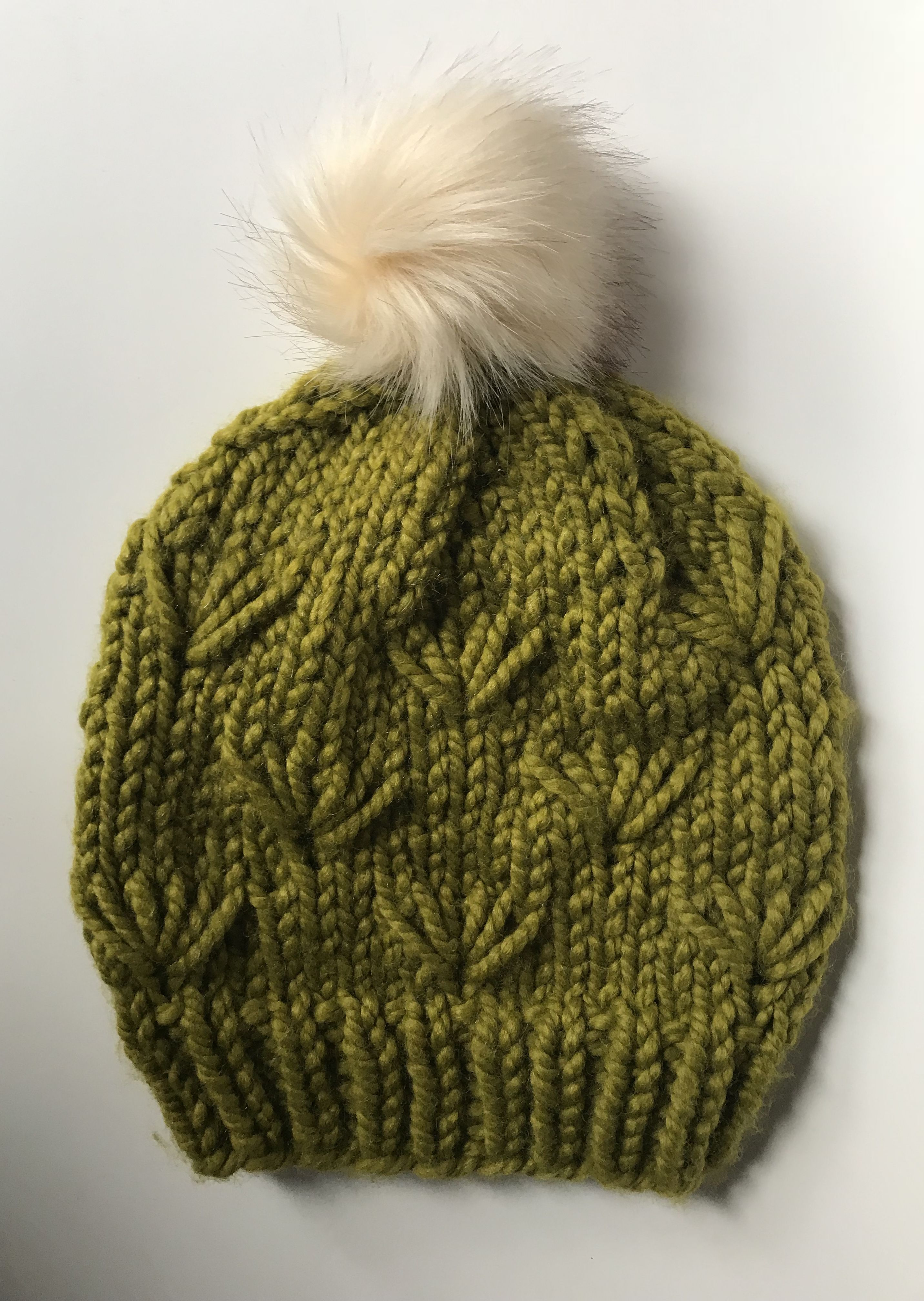 f700045e61e3e handmade  knit  hat with a  fauxfur  pompom from  driftlessknits  3 ...