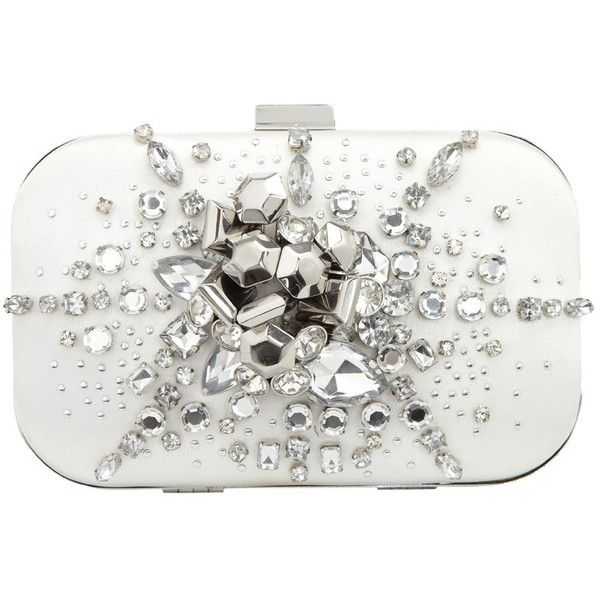 Graphic and jewel clutch (555 BRL) ❤ liked on Polyvore featuring bags, handbags, clutches, purses, accessories, bolsas, women, white purse, white clutches and white handbags