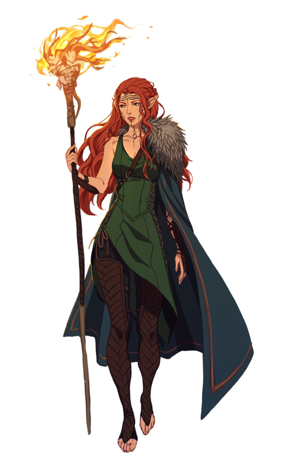 Character Design Dnd : Female elf sorcerer with staff pathfinder pfrpg dnd d