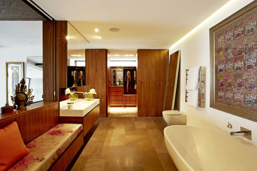 Apartments: Wood Bath Design Stone Flooring Downlight Wooden Basin Toilet Bathtup Shower Box Shower Glass Towels Rack Large Mirror In The Wall Basin: A Full Days Home that Feels Like a Travel