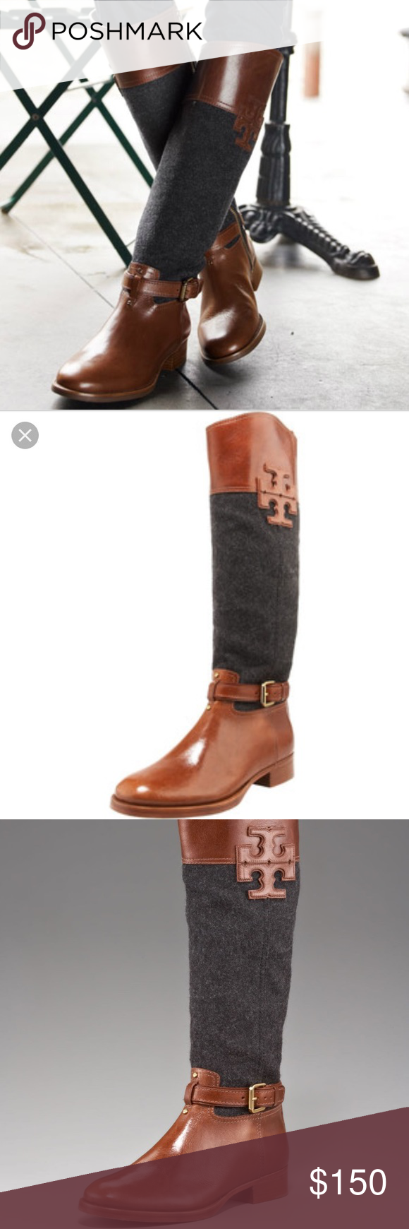 ecc2bdef19039 ... purchase tory burch flannel leather riding boots. size 9 but fit a 9.5  perfectly worn