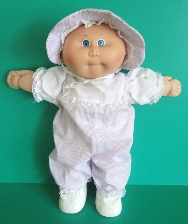 Cabbage Patch Preemie Doll 1984 Bald Blue Eyes Purple Gingham Romper With Hat Cabbage Patch Babies Cabbage Patch Kids Cabbage Patch