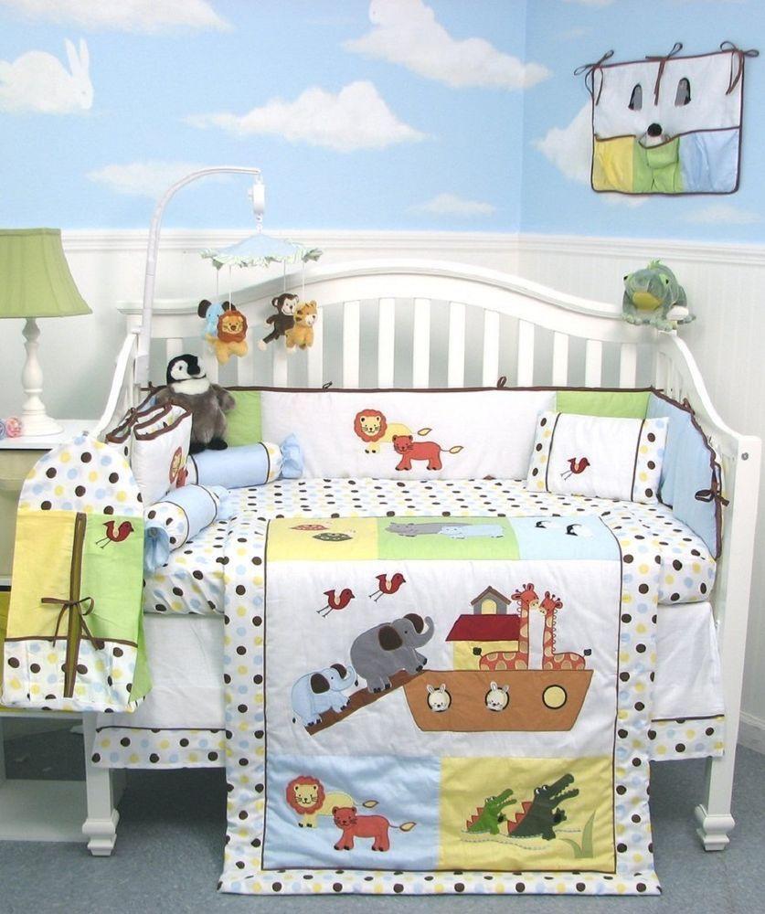 Crib Bedding Set Noah S Ark Unisex Infant Baby Nursery 13 Pc Quilt