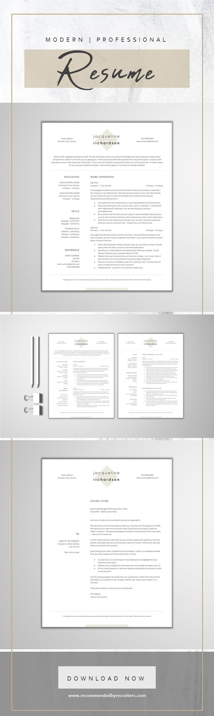 Minimalist Resume Template / Standard CV Template