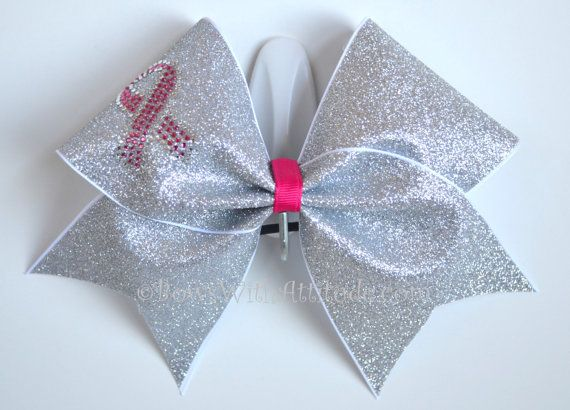 3 Wide Luxury Cheer Bow  Breast Cancer by BowsWithAttitude on Etsy, $16.99