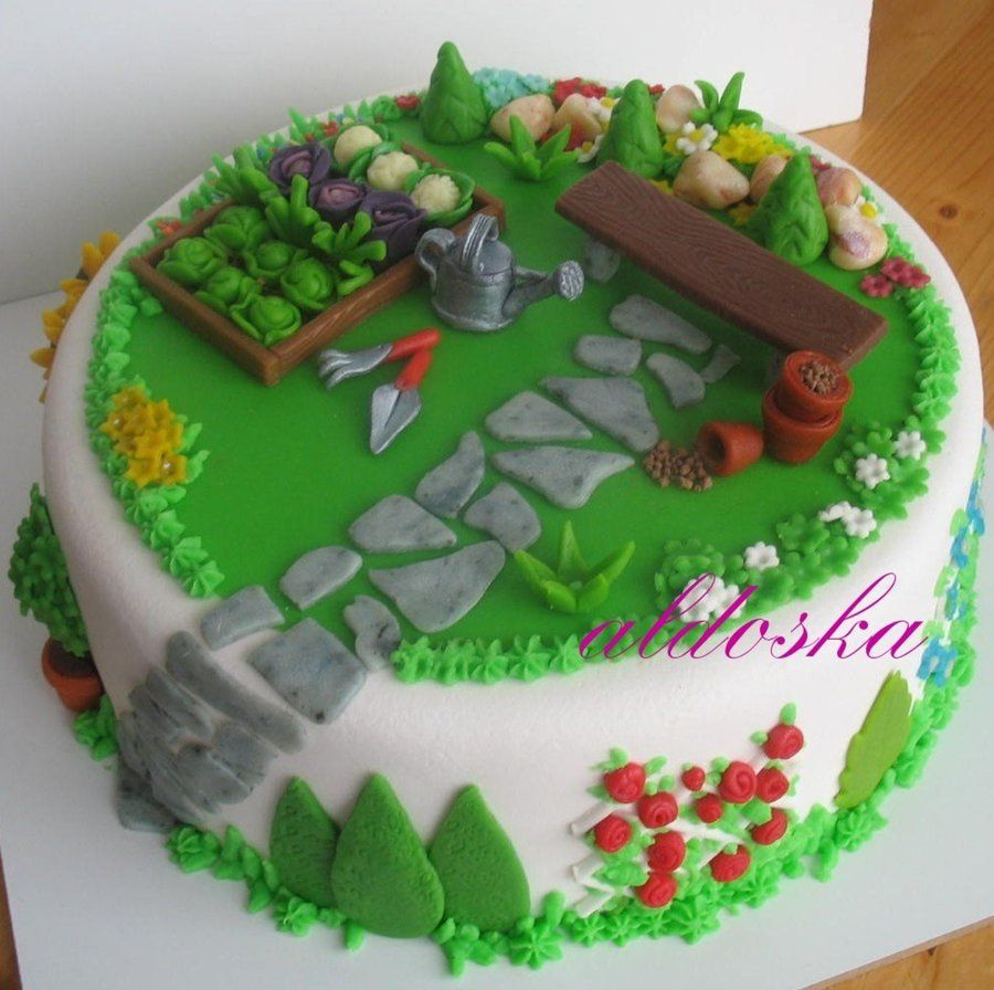 Gardening cake cake ideas for grandchildren pinterest for Vegetable garden cake ideas