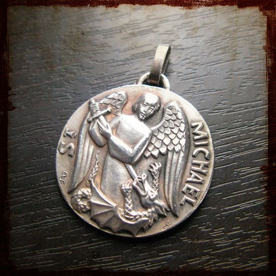 Vintage Religious Medal With Archangel St Michael Lord