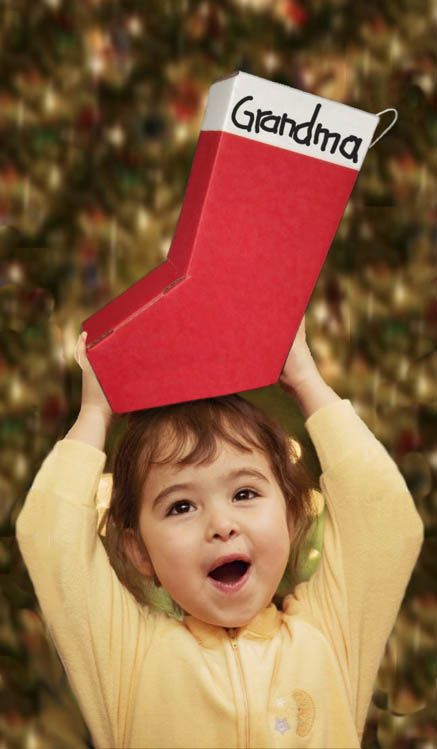 bright red stocking-shaped mailer box - no extra shipping charge!