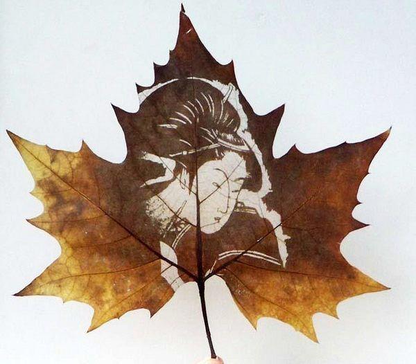 Резьба на листьях, картины на листьях
