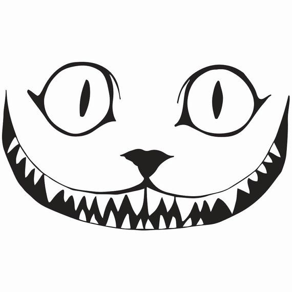 """Cheshire Cat Smile Decal, 5.5""""/7.5"""" Sizes, 10 Color"""
