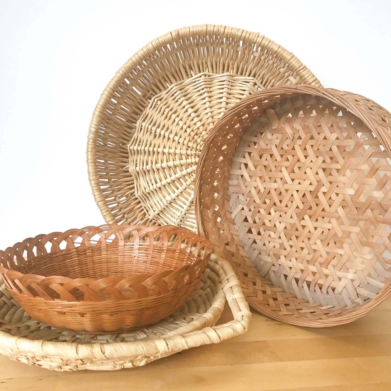 Woven Basket Wall Hanging - Set of 4, Wicker Basket Set, Woven ...