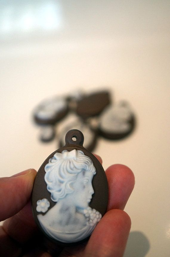 Vintage Porcelain Charms Cameo Craft Supplies Brown and White Jewelry Making Supplies Scrapbooking Mixed Media Jewelry Charms on Etsy, £5.48