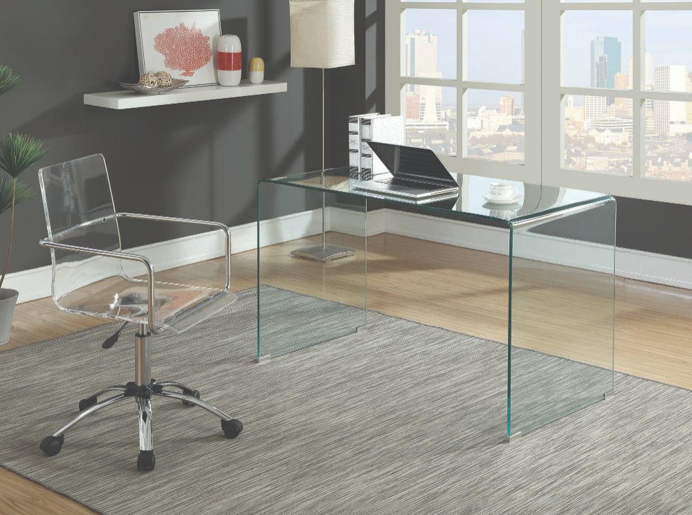 Clear Tempered Glass 801581 Bent Glass Modern Desk Glass Desk