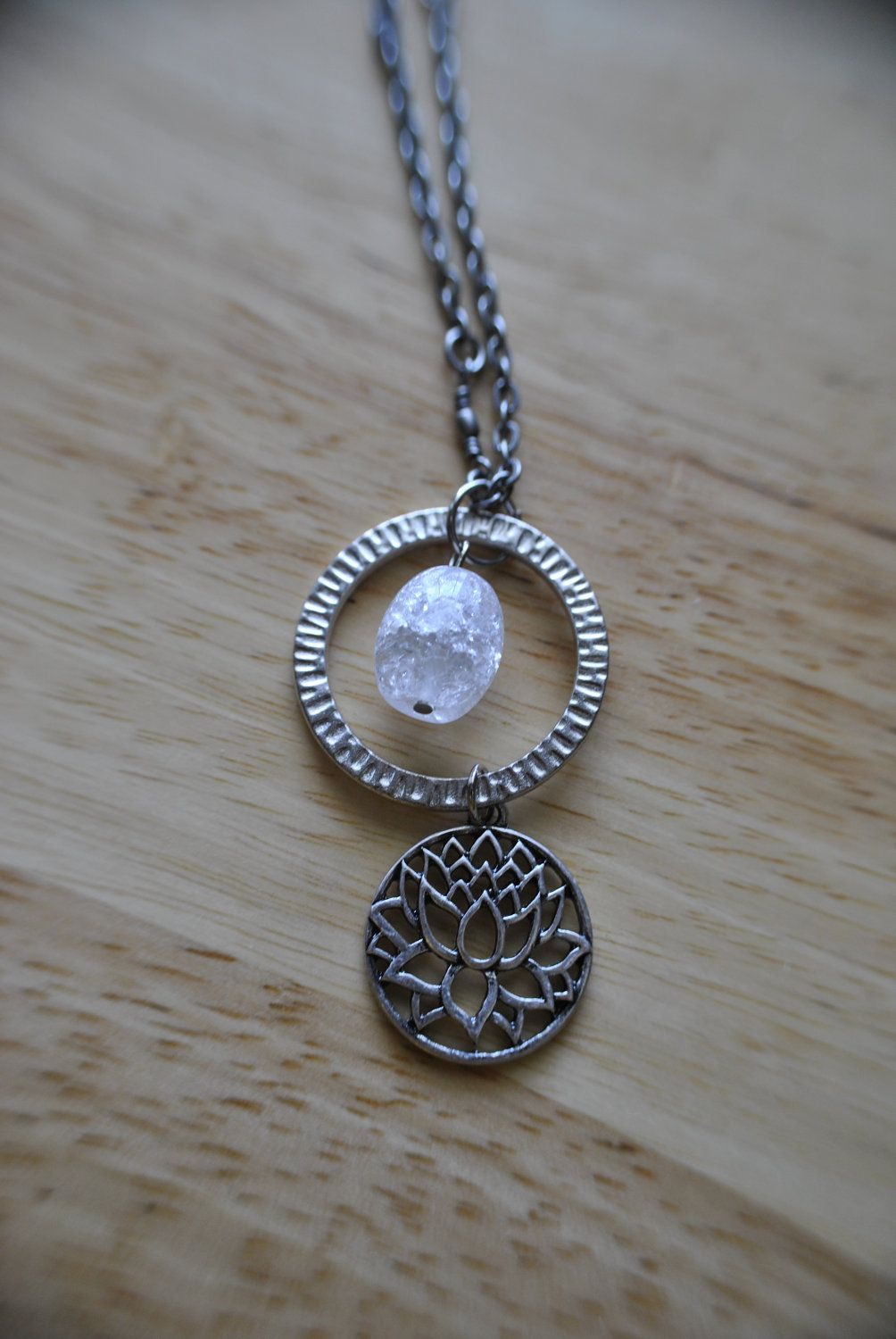 Lotus crystal charm necklace with images crystal