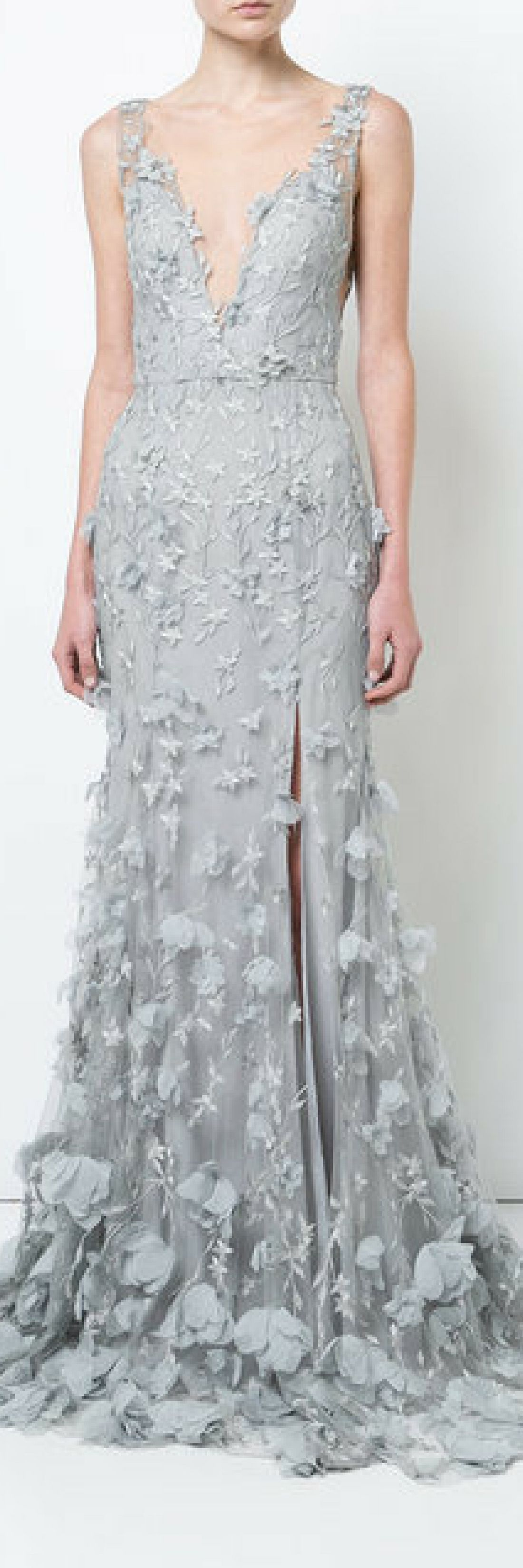 Summer dresses to wear to a wedding  Marchesa Notte D floral plunge gown wedding ideas wedding dresses