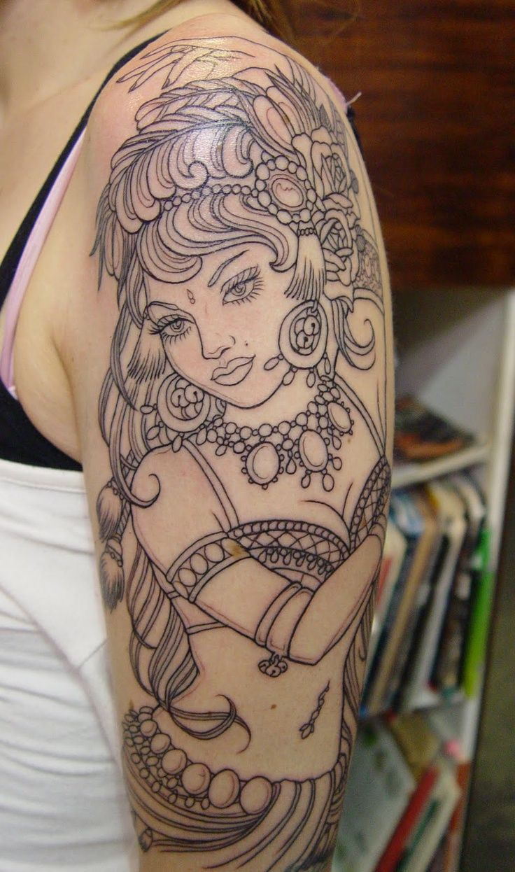 Gypsy tattoo i dont like this drawing but i like the idea of getting a gypsy woman on my arm a gypsy or a native american