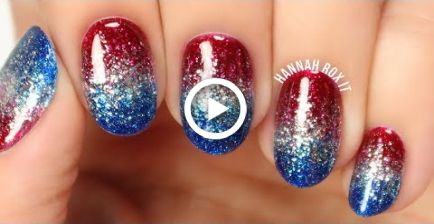 4th of july glitter gradient nails no sponging nails