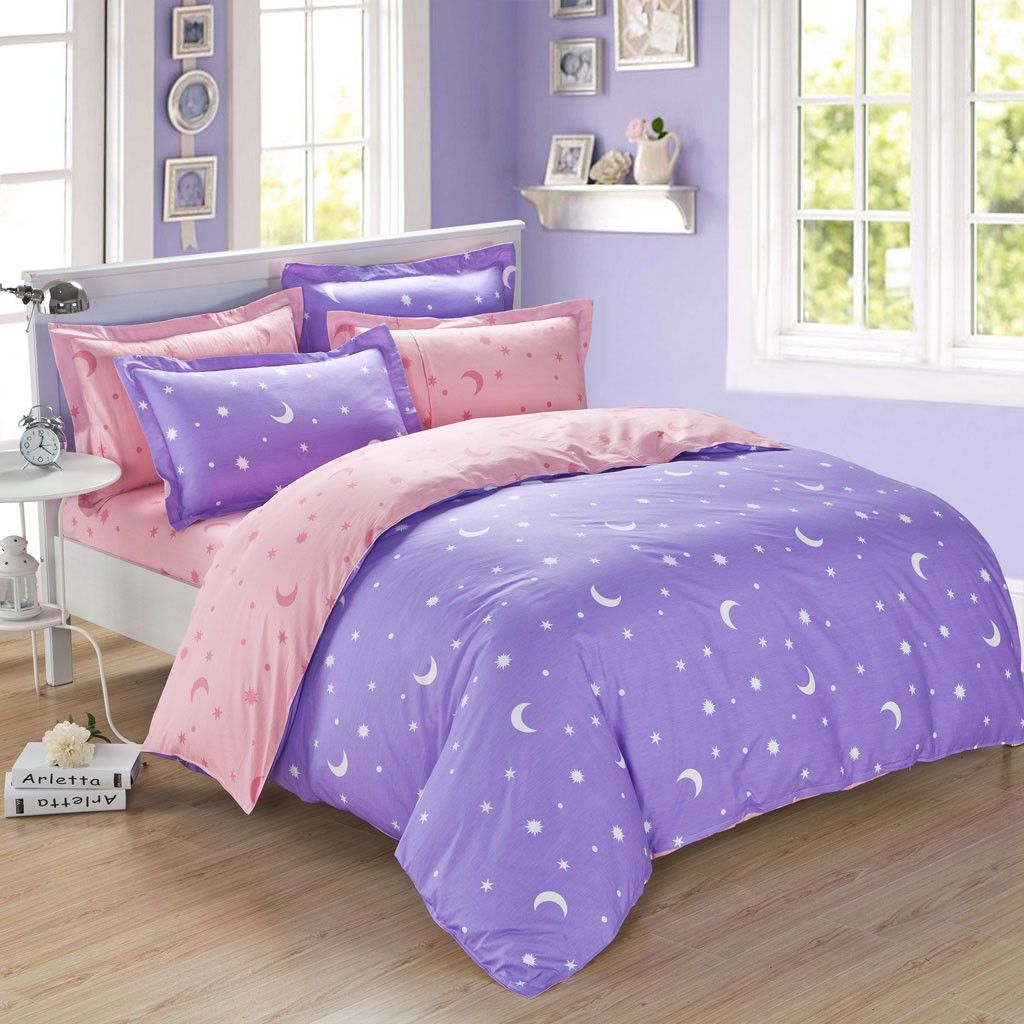 Queen Size Doona Lavender And Pink Moon Star Full Queen Size Duvet Cover