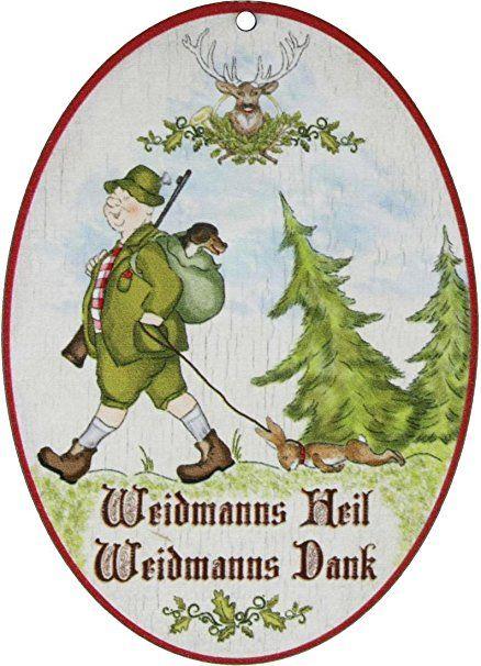 Kaltner Präsente Geschenkidee   Holz Spruchschild Im Antik Design Motiv  Jäger WEIDMANNS HEIL (Ø 18