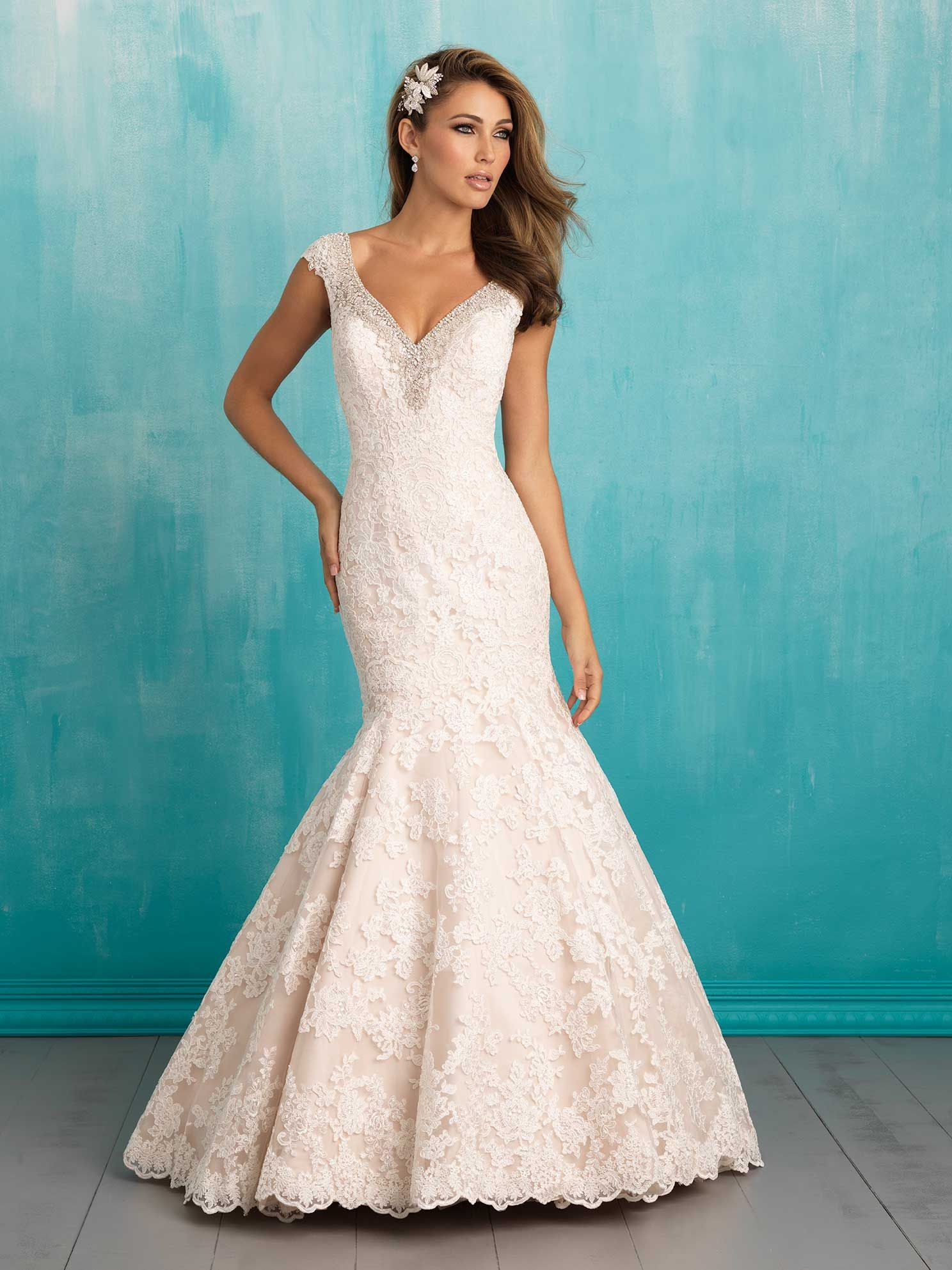 Allure Style 9311 Favorite Details Of This Gown Include The Delicately Beaded Cap Sleeves And Tiered