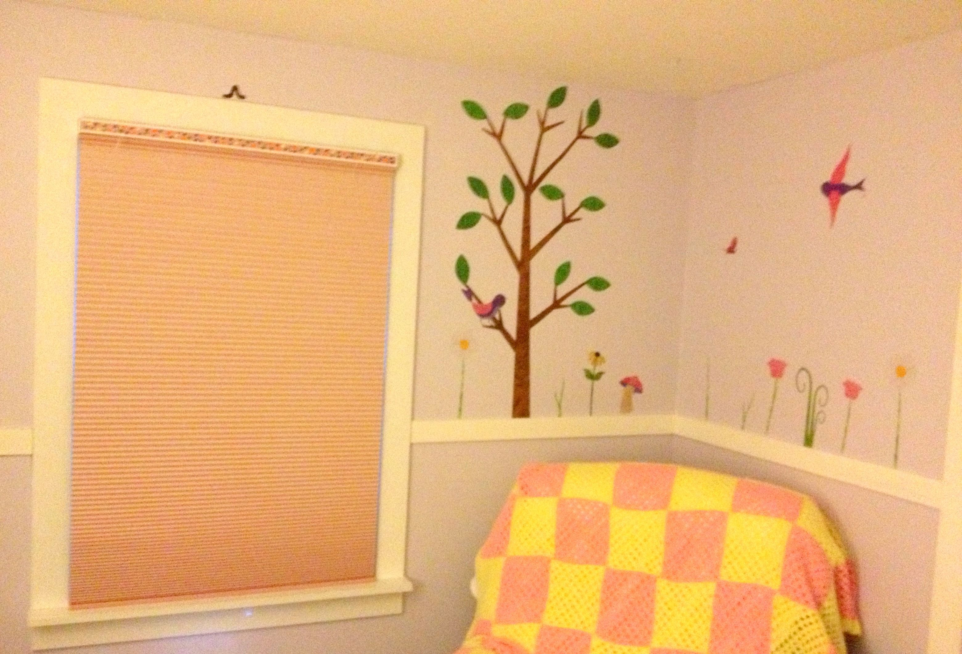 Using wall decals from mywonderfulwalls.com, some paint and a bright ...