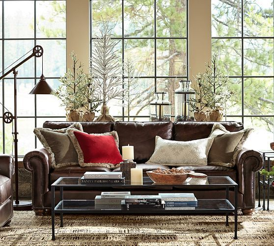 Webster Leather Sofa With Nailheads Leather Sofa Home Decor Living Room Leather