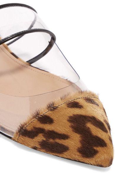 e2742a3339f7 Aquazzura - Seduction Pvc And Leopard-print Calf Hair Slippers - Leopard  print