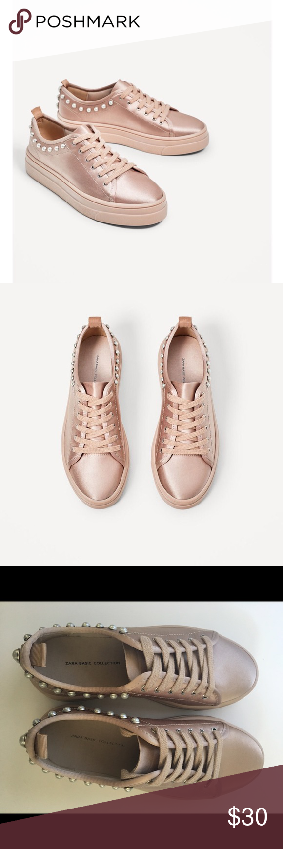 fd6d6fcca53 Zara- Satin Sneaker with Pearls Blush satin is really more of a taupe/blush