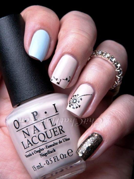 50 Cute Dandelion Nail Art Designs Nail Design Ideaz Nail Designs Dandelion Nail Art Nails