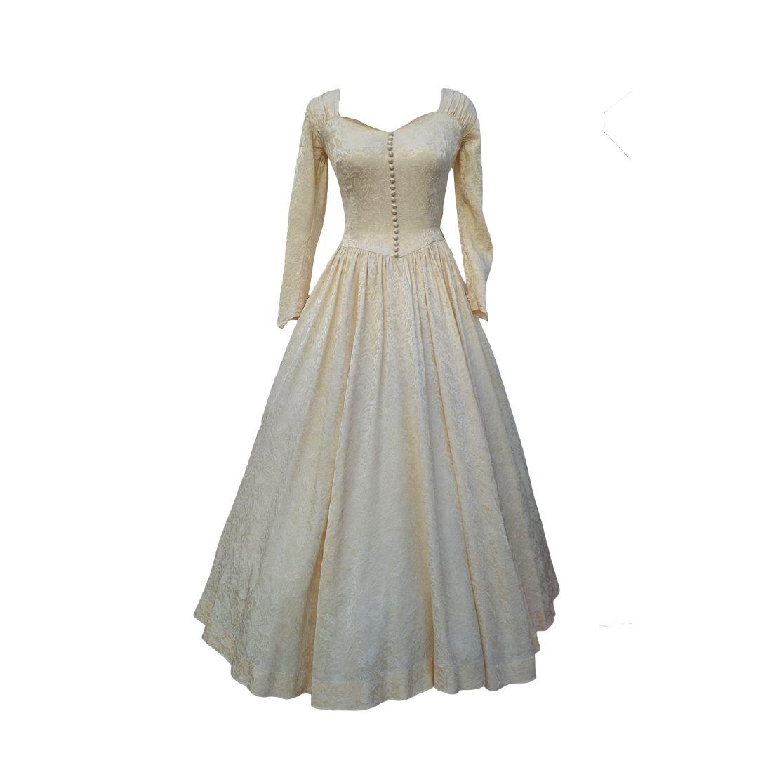 1940s Vintage Wedding Dresses 1940s Vintage Damask Elizabethan Wedding Dress Front Pet2 Damask Wedding Dress 1940s Wedding Dress Dresses