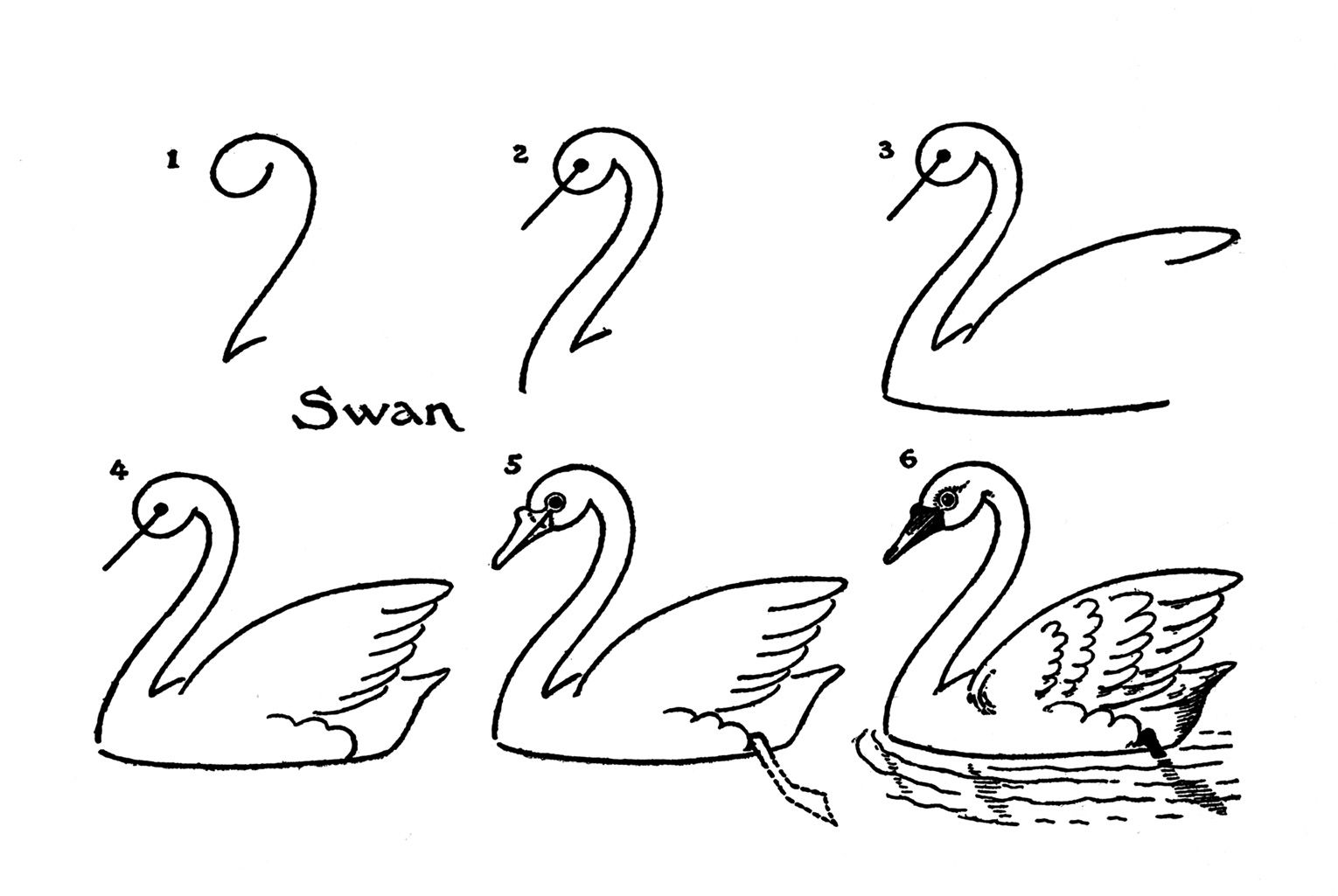 vintage kids printable draw some swans