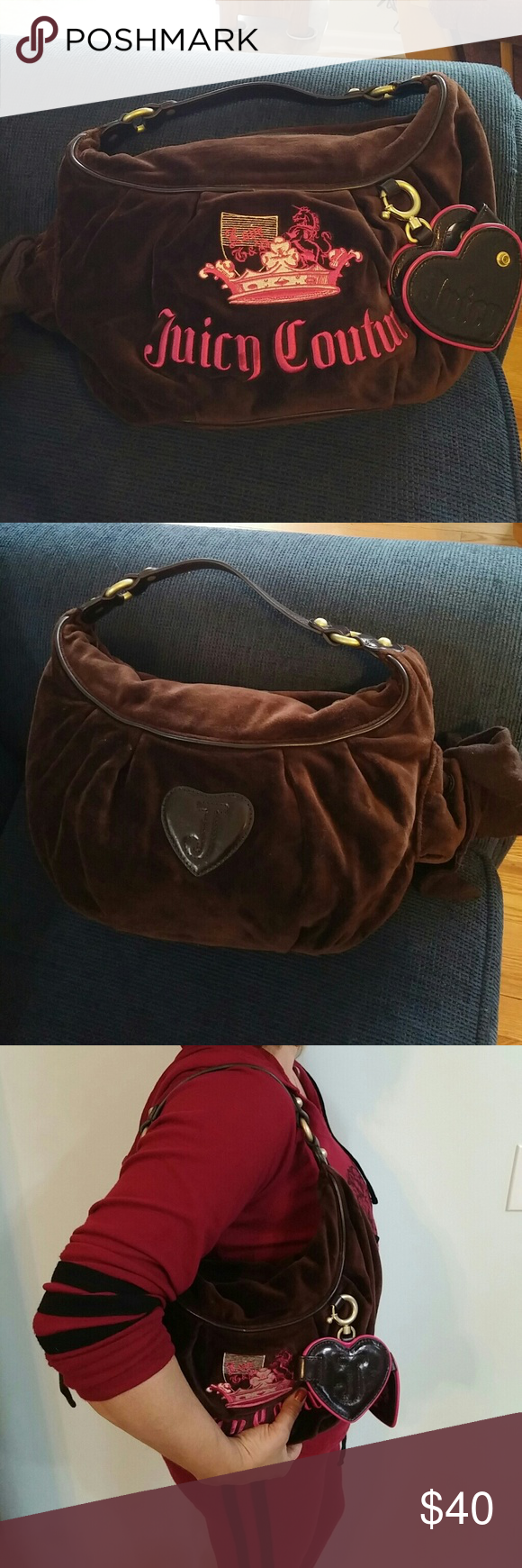 (JUICY COUTURE) brown scoop purse A sweet little heart mirror that says I am the fairest on it hands off the purse and opens and shuts with a snap. There is also a bow off to the side.  Beautiful lining inside the purse was only used a few times and downsizing all my purses so a lot of them do not so much where it all.  Even though the handle is short you can still put it on your shoulder Juicy Couture is beautifully embroidered into the purse along with the applique above it. Juicy Couture…