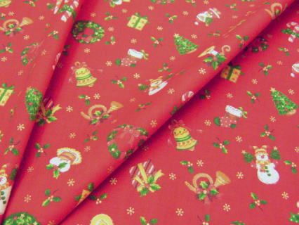 ケーキやリースのクリスマス調プリント 110cm巾 綿100% - そーいんぐ・すていしょん コミニカ