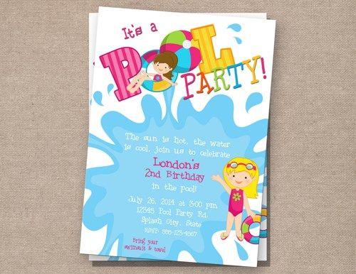 Itu0027s a Pool Party Birthday Invitation - Girl PerfectFavors - birthday invitation pool party