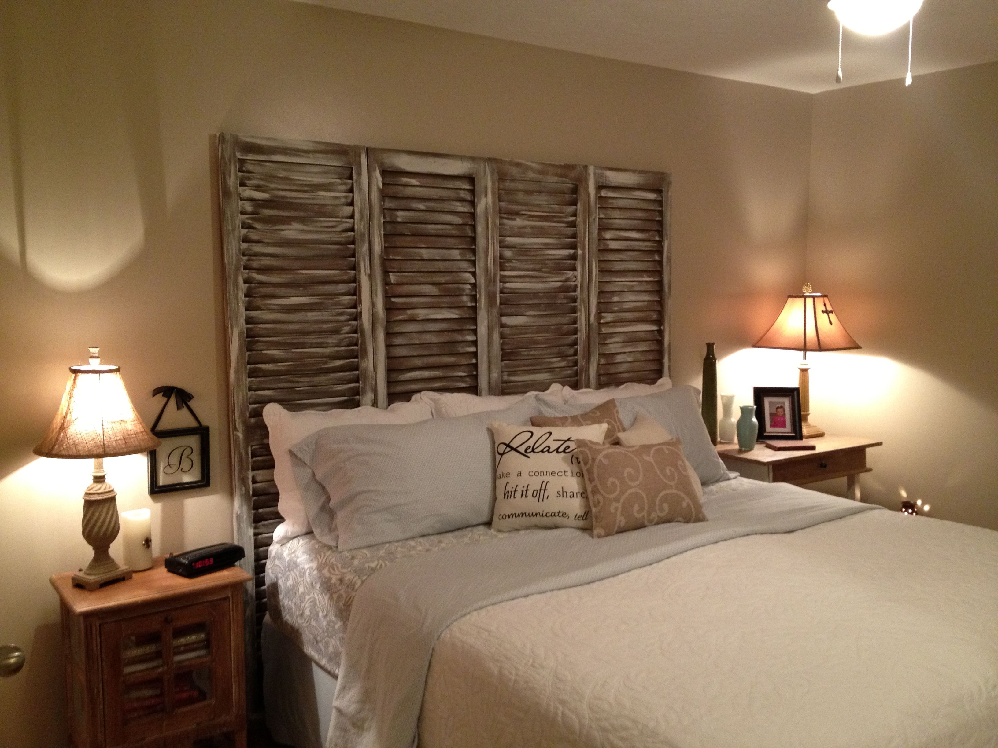 Headboard made from old shutters diy crafts that i - King size headboard ideas ...
