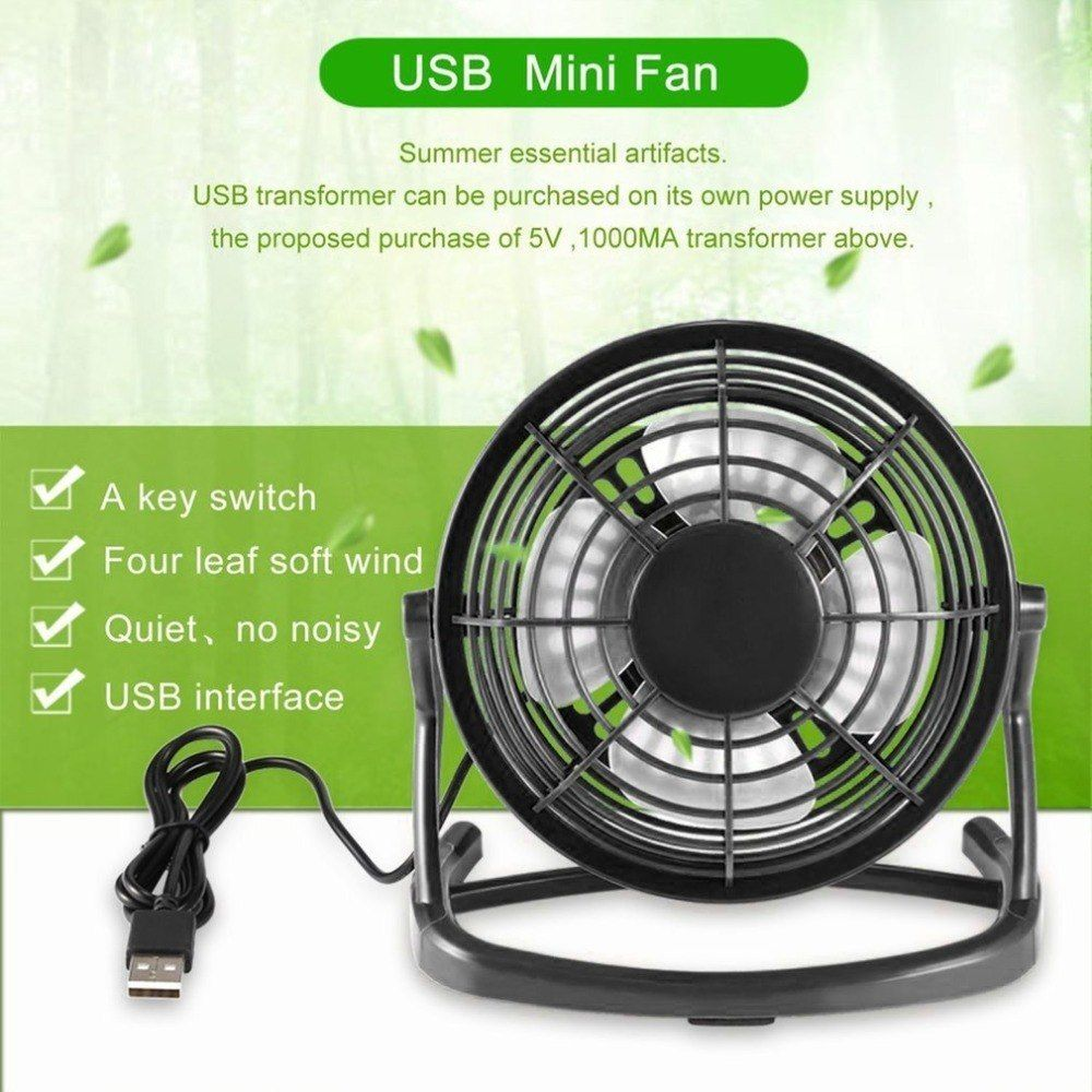 Moveable Dc 5v Small Desk Usb Four Blades Cooler Cooling Fan Usb