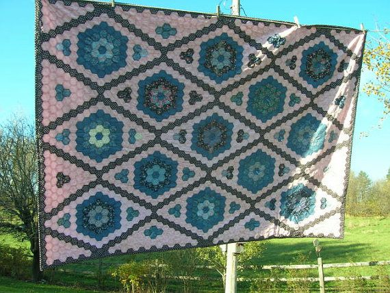 Grandmother's+Flower+Garden+Quilt+in+Pinks+and+by+bungalohill,+$400.00