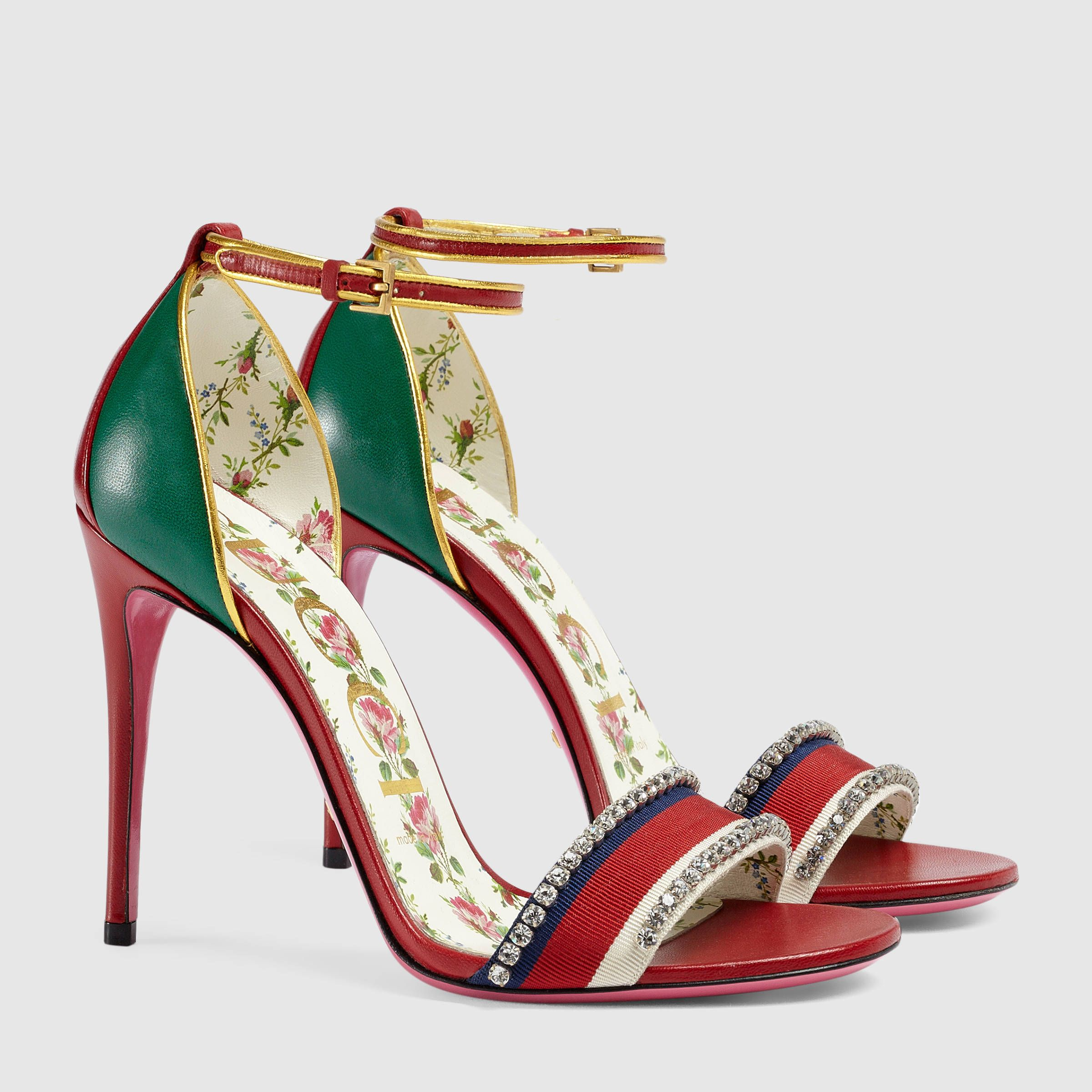Gucci - Red/green leather sandals with