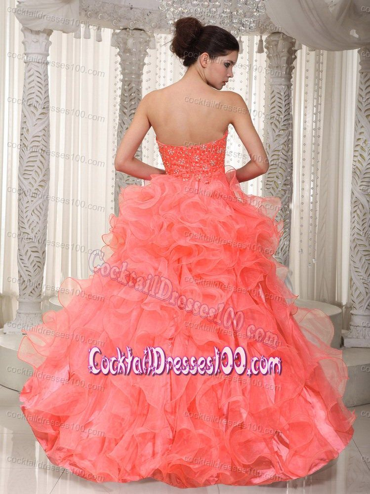 Coral Colored Sweetheart Beaded High Low Cocktail Dress With Ruffles